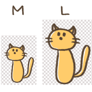 MサイズとLサイズを比較しているイラスト